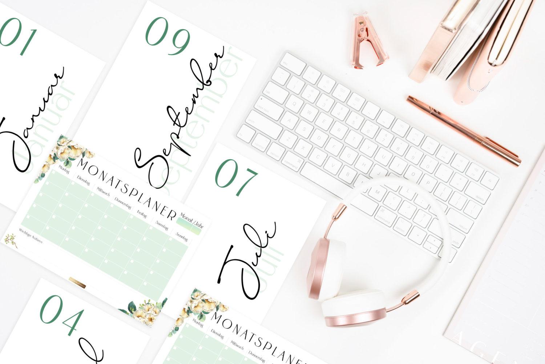 """kalender 2020 und planer vorlagen zum ausdrucken """"bloomy"""