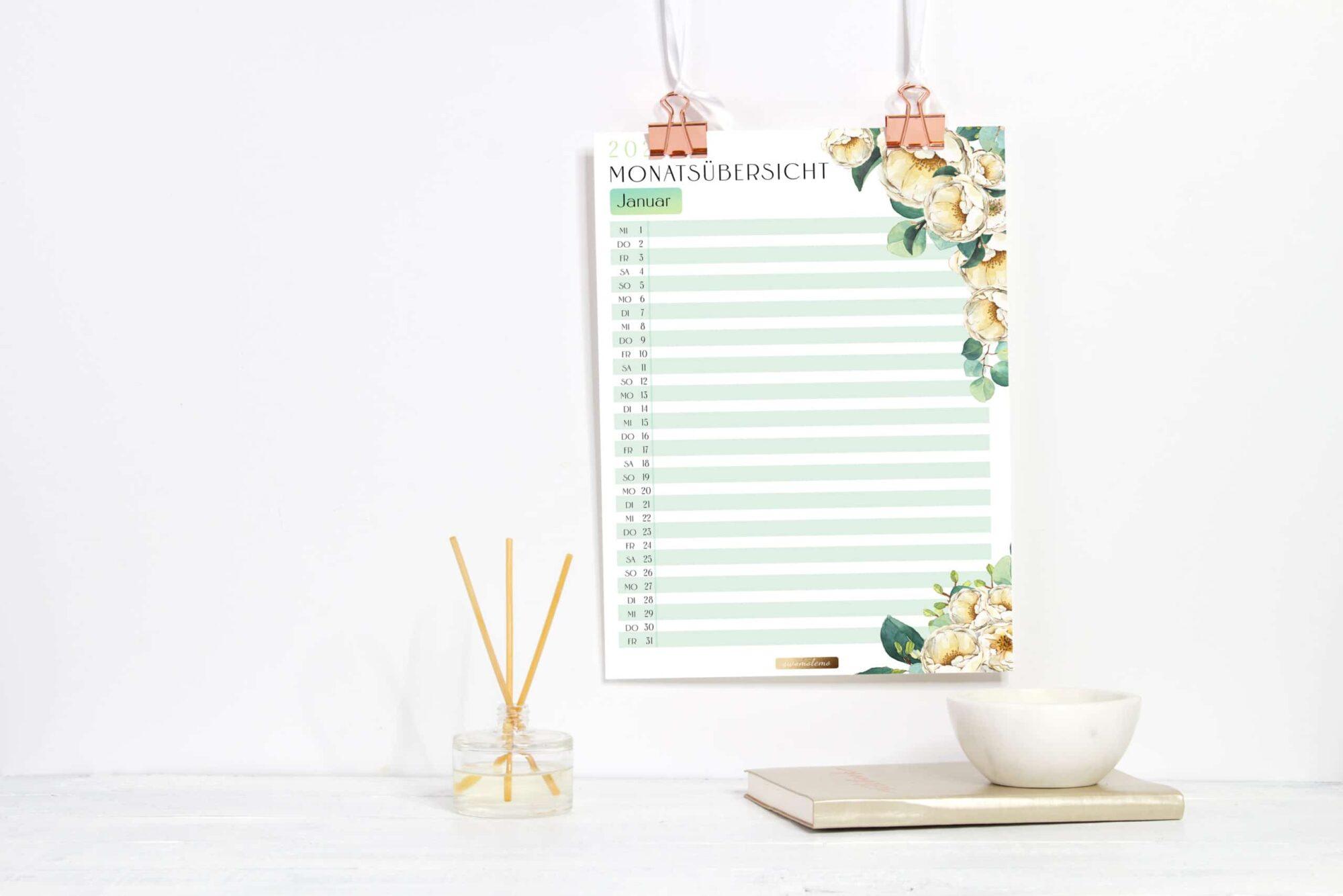 2021 Organizer XXL-Set / PDF Kalender und Planer Vorlagen zum Ausdrucken 8