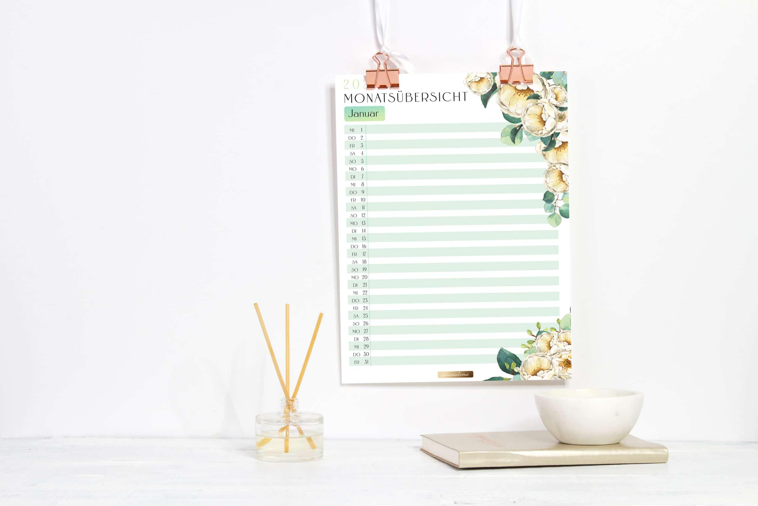 2021 Organizer XXL-Set / PDF Kalender und Planer Vorlagen zum Ausdrucken 4