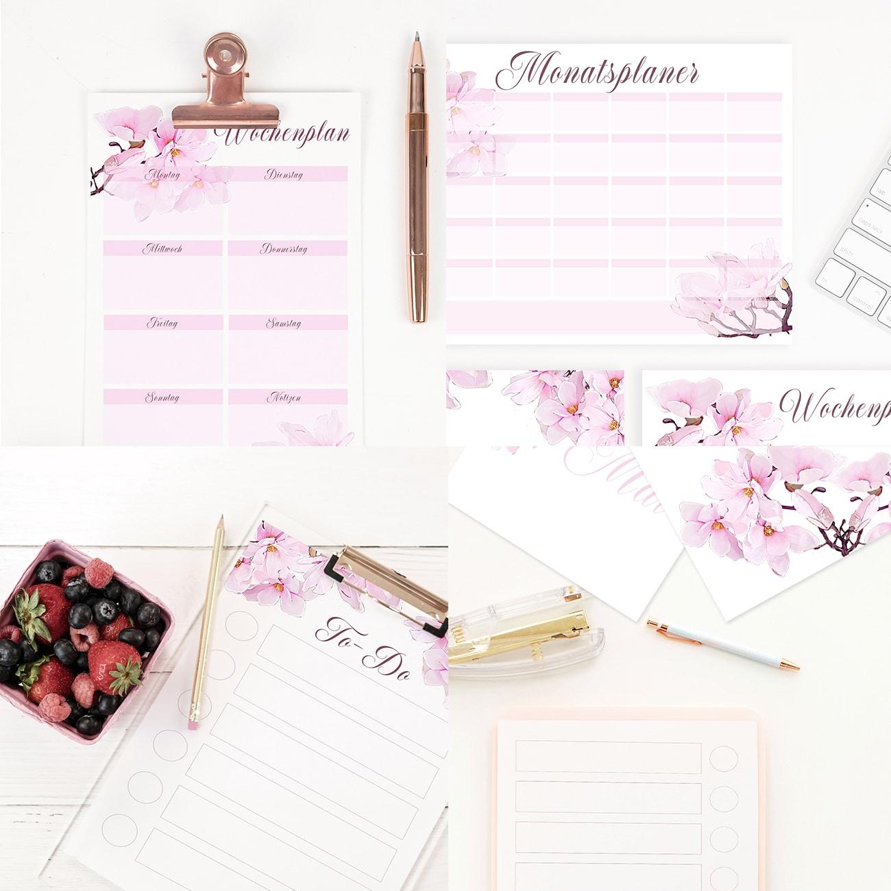 Bullet Journal Vorlage zum Ausdrucken Set Pink Rosa Blumen Watercolor