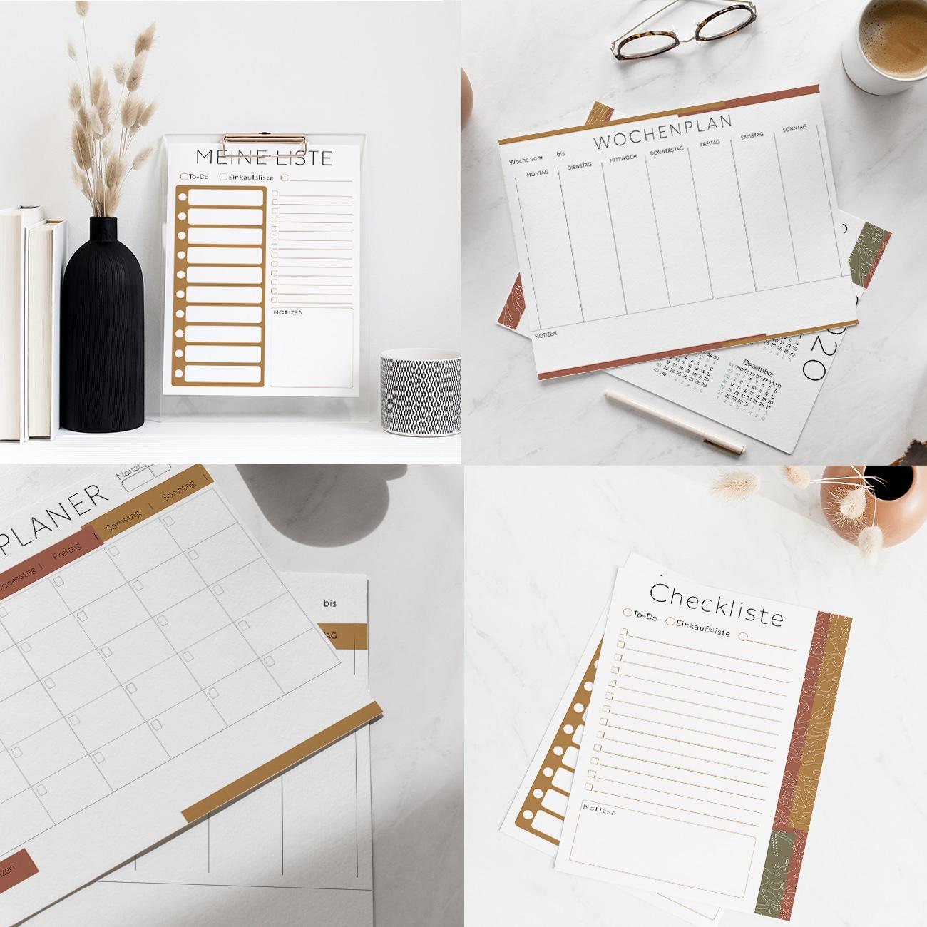Kalender 2020 zum Ausdrucken Planer Vorlagen ausfüllbar modern minimalistisch natur töne braun terracotta