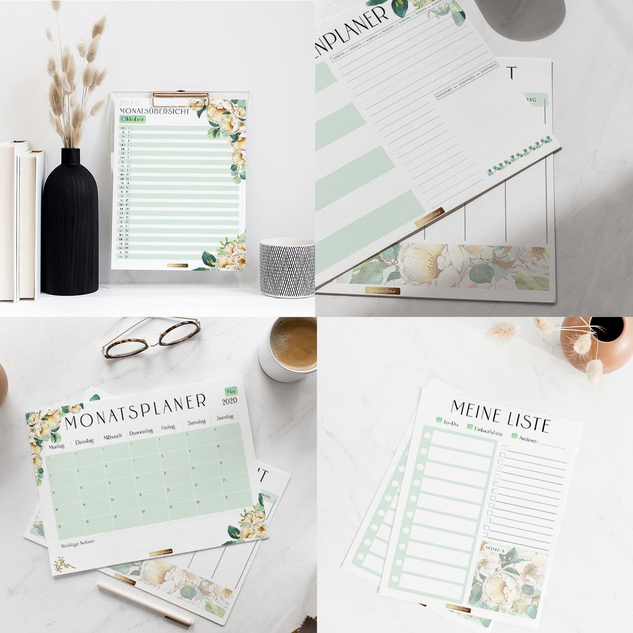 Planer Vorlagen zum Ausdrucken Kalender zum Ausdrucken modern grün