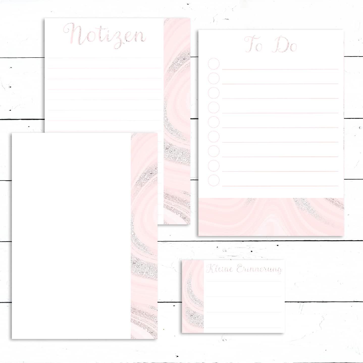 Notizen Checkliste Vorlagen Set zum Ausdrucken - Rosa 1