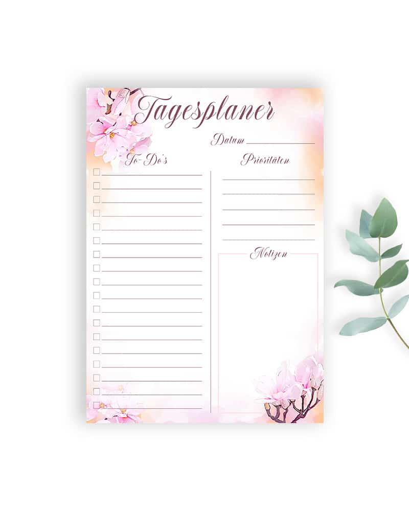 Tagesplaner zum ausdrucken ausfüllbare pdf bullet journal idee planer vorlage kalender