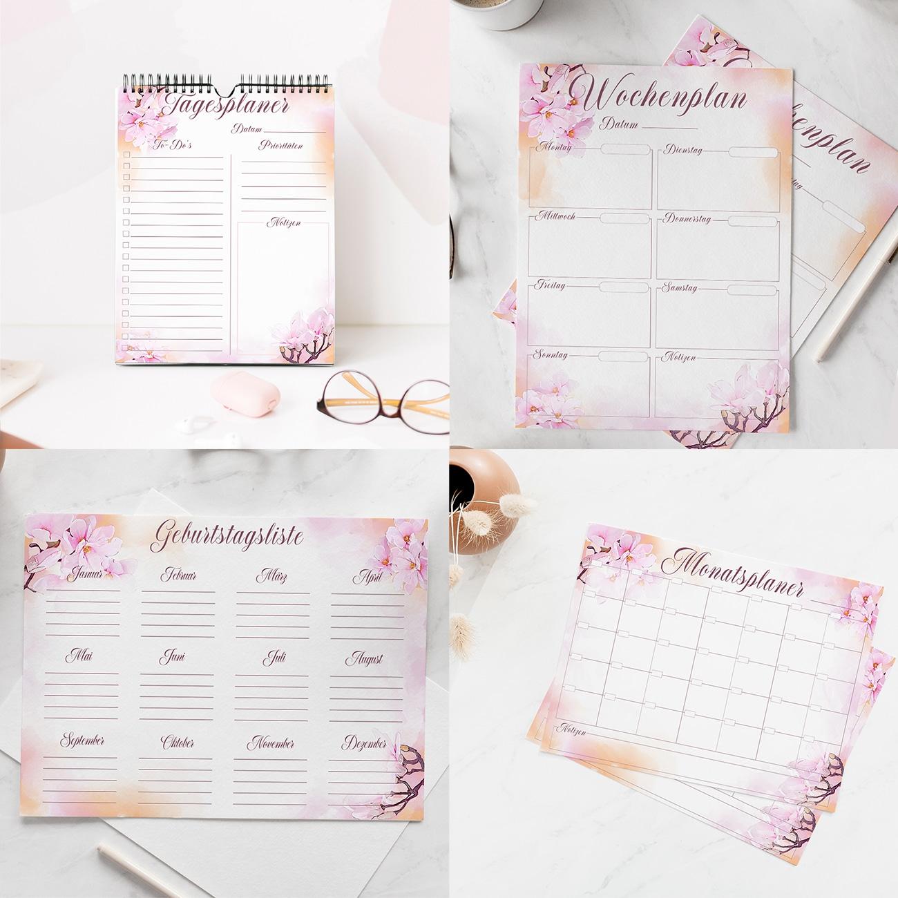Kalender 2020 zum Ausdrucken Planer Vorlagen Tischauflage ausfüllbare PDF Watercolor Pink rosa blumen