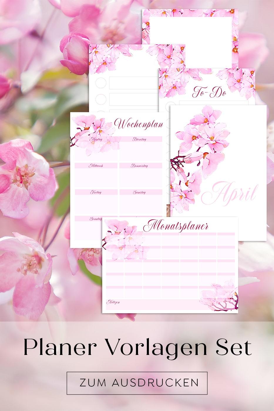 Kalender Planer Vorlagen Set zum Ausdrucken Bullet Journal Idee Deutsch Druckbar Pink Spring Blüten