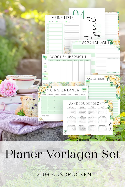 Kalender Planer Vorlagen Set zum Ausdrucken Bullet Journal Idee Deutsch Druckbar Rosen Blüten