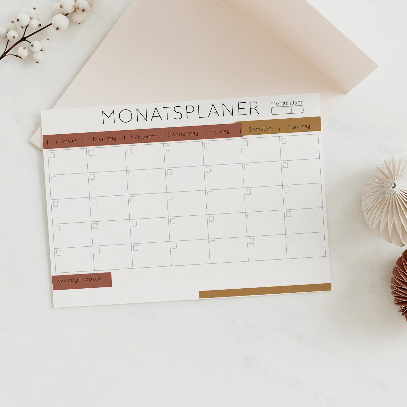 Monatsplan zum ausdrucken modern minimalistisch ausfüllbare pdf