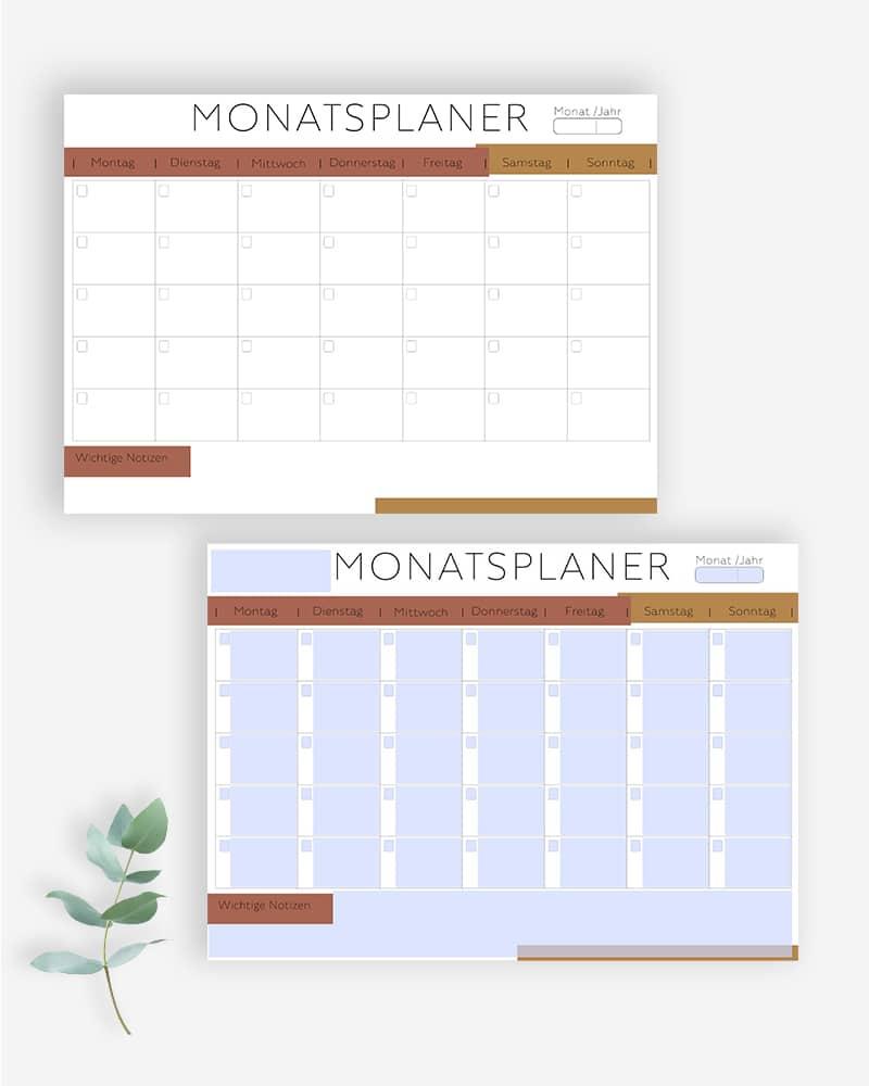 Monatsplaner zum Ausdrucken ausfüllbare PDF minimalistisch bullet journal planer vorlage