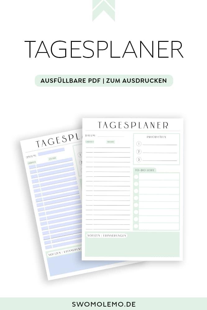 Tagesplan Vorlage zum Ausdrucken Tagesplaner druckbar ausfüllbar PDF modern minimalistisch grün (2)