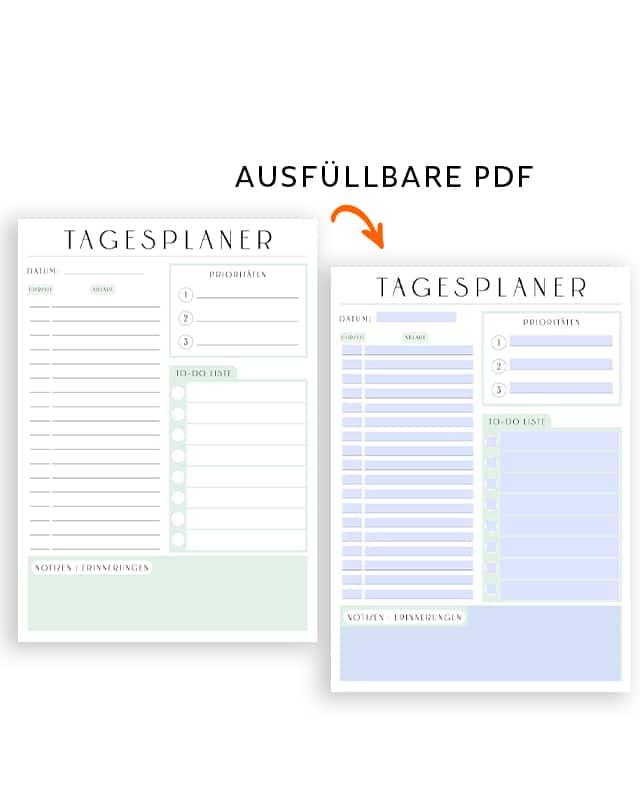 Tagesplan Vorlage zum Ausdrucken Tagesplaner druckbar ausfüllbar PDF modern minimalistisch grün (5)