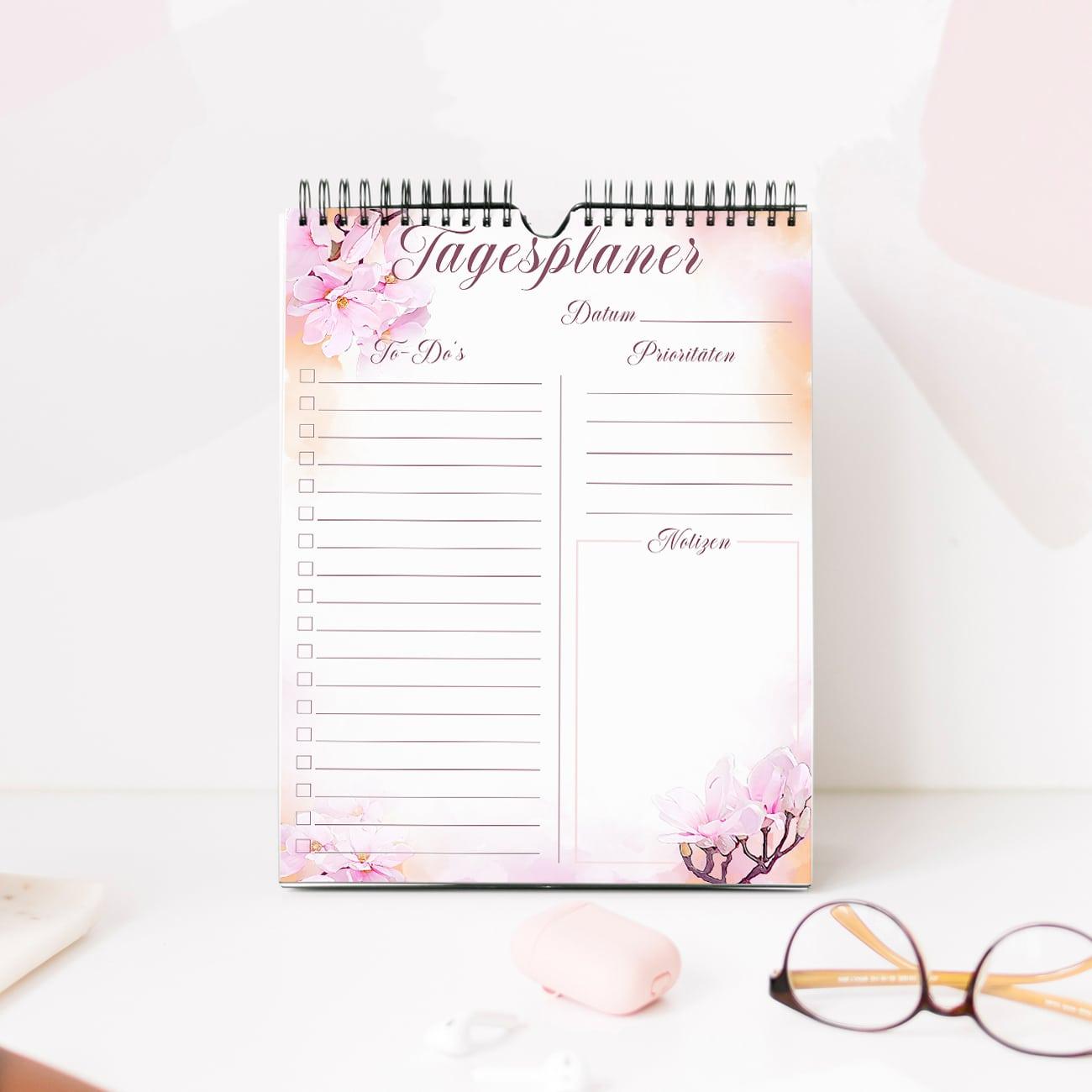 Tagesplan Vorlage zum Ausdrucken ausfüllbar pdf modern aquarell