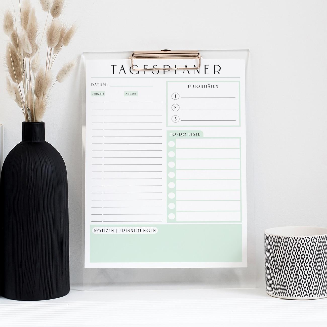 Tagesplan zum ausdrucken tagesplaner druckbar ausfüllbar modern