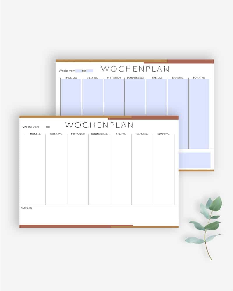 Wochenplaner zum Ausdrucken ausfüllbare PDF minimalistisch bullet journal planer vorlage