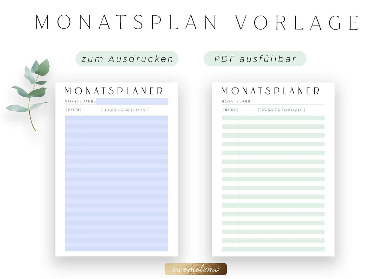 Monatsplan_Blanko_ohne_Datum_zum_Ausdrucken_Minimal_Green