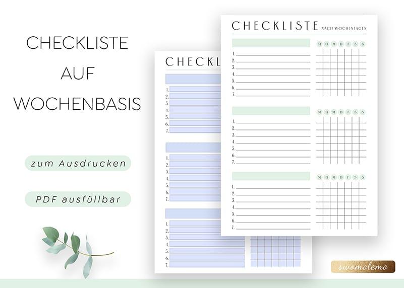Checkliste_Wochenplaner_Vorlage_Minimal_Green