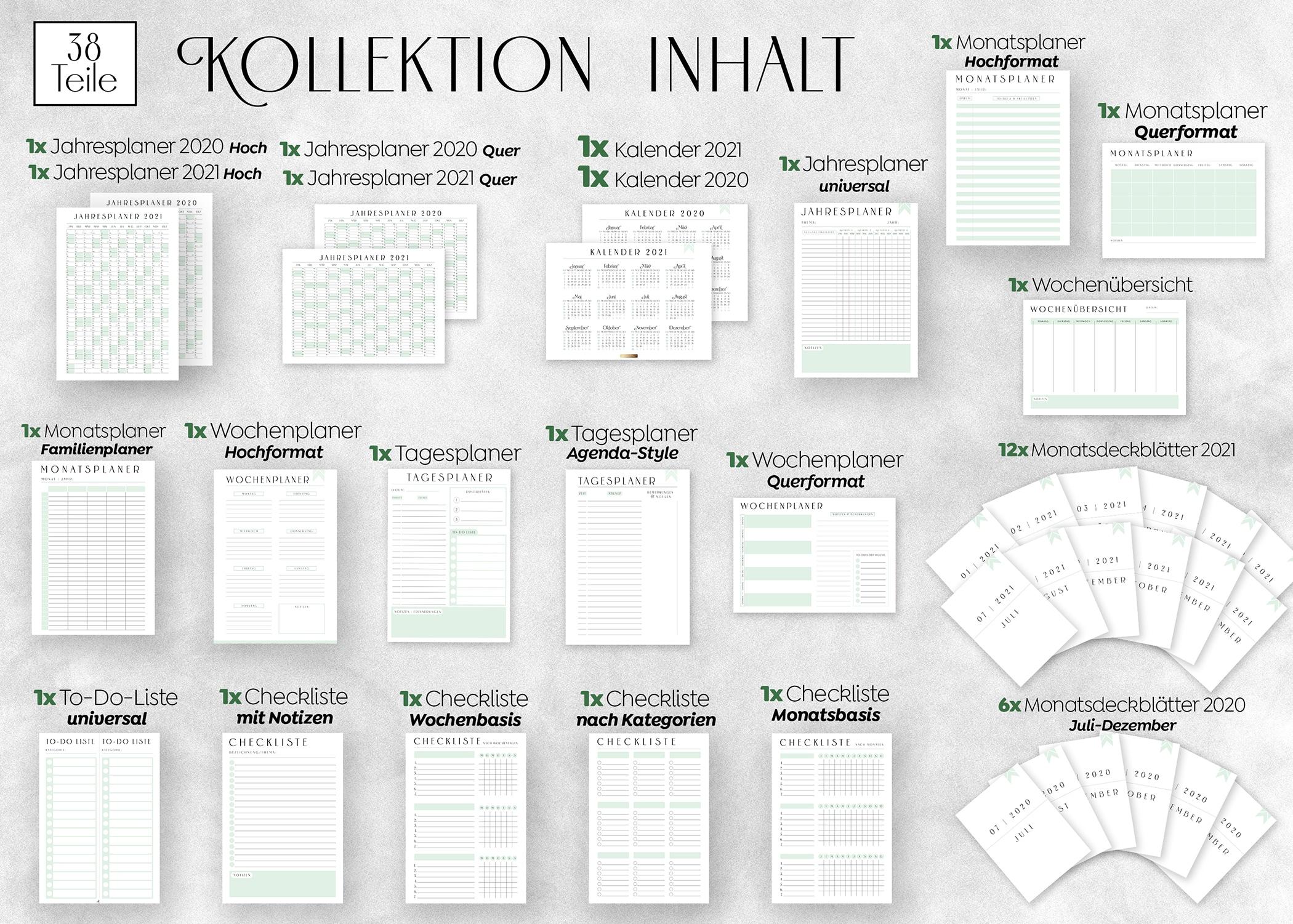 Planer_Vorlagen_zum_Ausdrucken_PDF_a4_Minimal_Green_Swomolemo