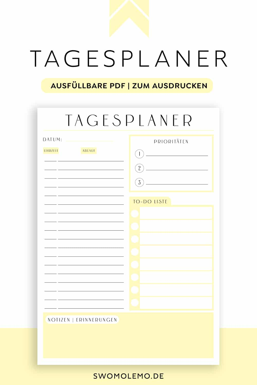 Tagesplan_Vorlage_gelb_Minimal_yellow_zum_ausdrucken_digital
