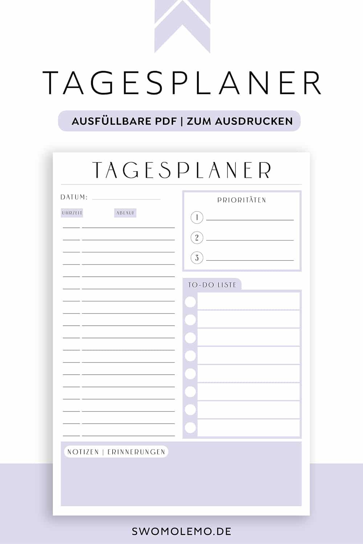 Tagesplan_Vorlage_lila_Minimal_Purple_zum_ausdrucken_digital