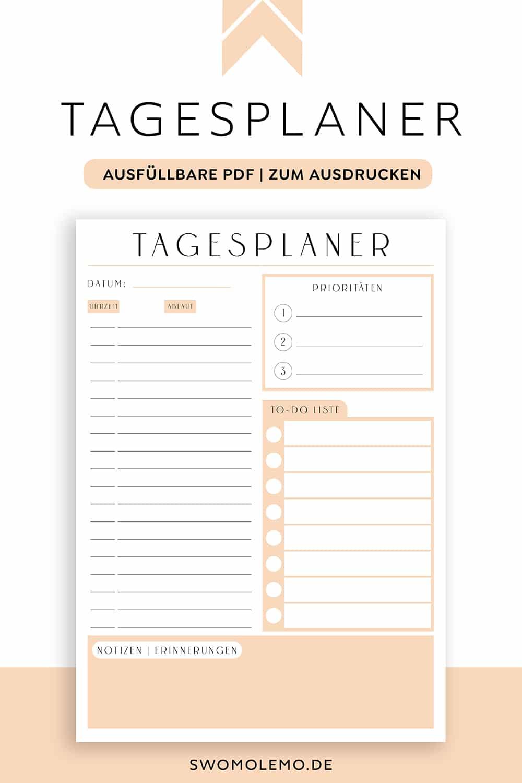 Tagesplan_Vorlage_orange_Minimal_orange_zum_ausdrucken_digital