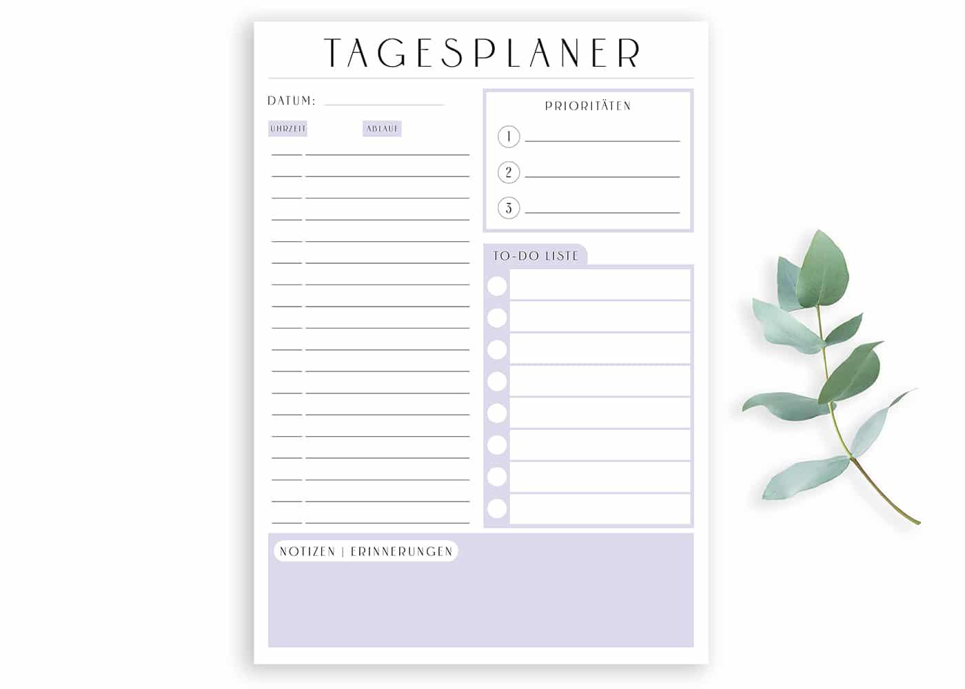 Tagesplaner_Vorlage_lila_pdf_Minimal_Purple_zum_ausdrucken_digital