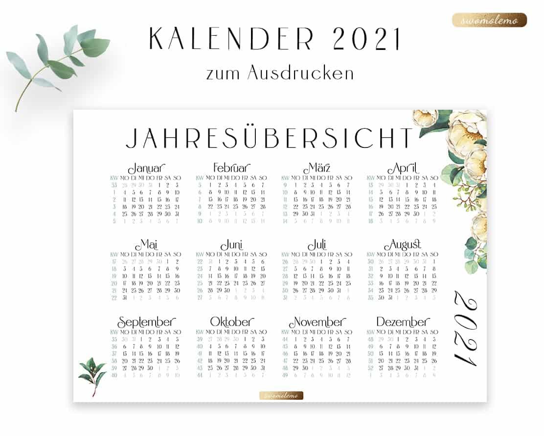 Kalender-2021-Watercolor-Bloomy-Green-Kollektion