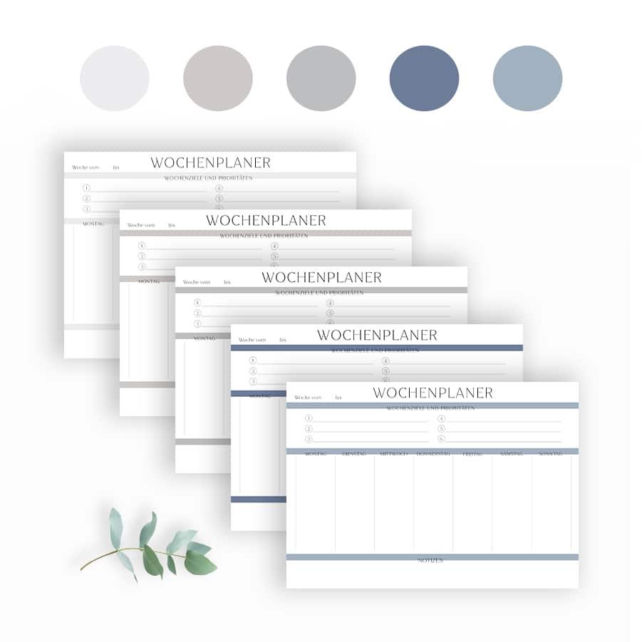Wochenplan Vorlage zum Ausdrucken modern minimalistisch ausfüllbar PDF farbpalette Wochenplaner