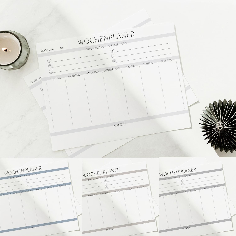 Wochenplan Vorlage zum Ausdrucken modern minimalistisch ausfüllbar farbpalette Wochenplaner set