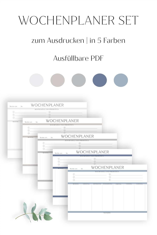 Wochenplaner zum Ausdrucken modern minimalistisch ausfüllbar farbpalette Wochenplan Vorlage