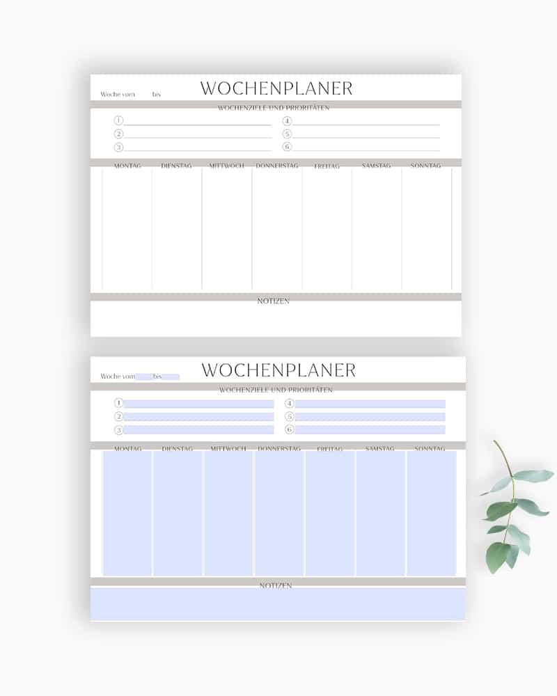minimalistischer Wochenplaner zum ausdrucken ausfüllbare pdf bullet journal kalender vorlage planer (2)