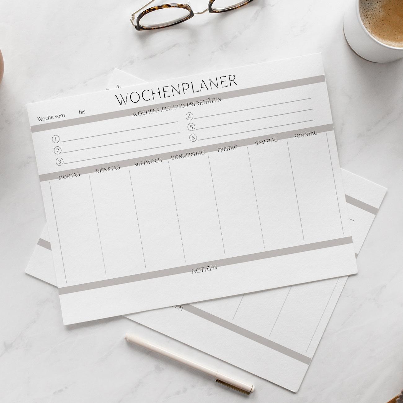 moderne Wochenplan Vorlage zum Ausdrucken ausfüllbar Wochenplaner Wochenkalender
