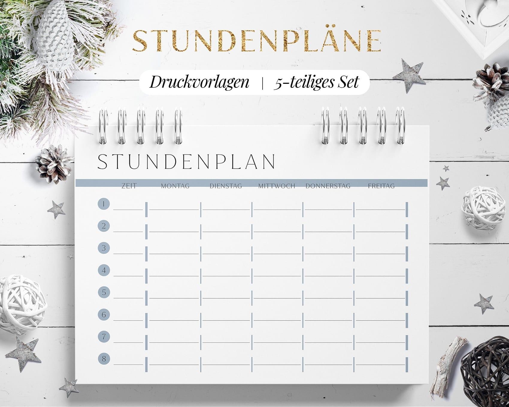Stundenplan Vorlage Download Blau Set