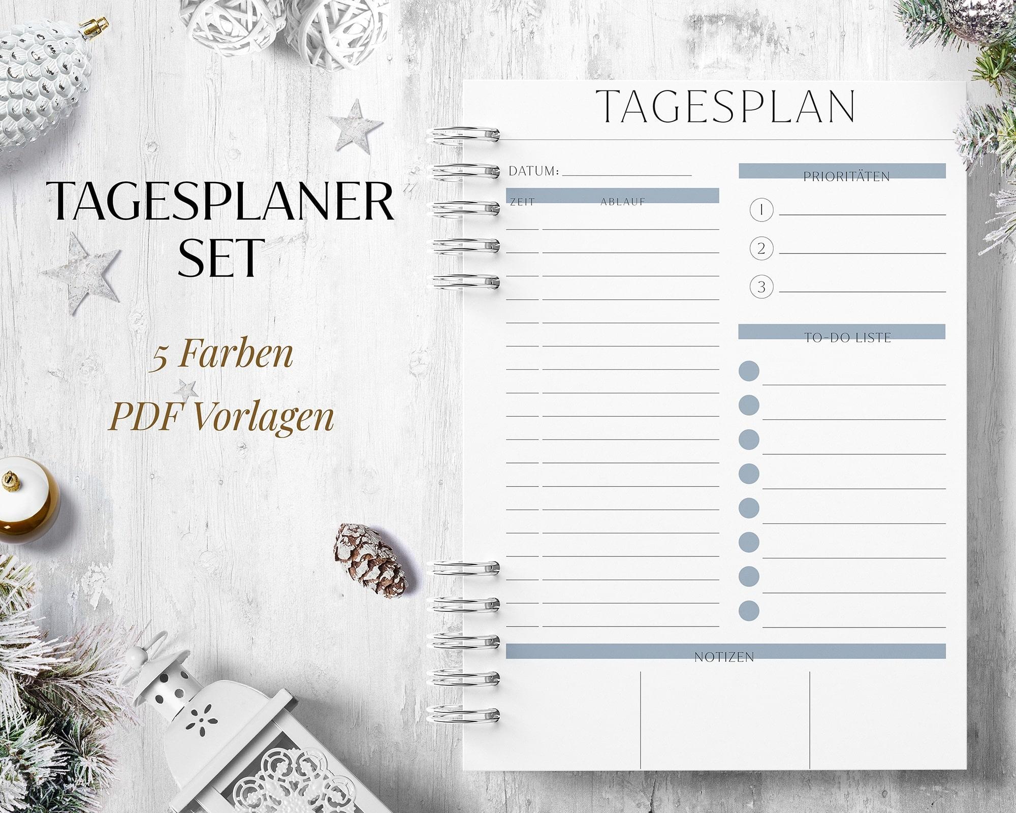 Tagesplan Vorlage digital pdf zum Ausdrucken
