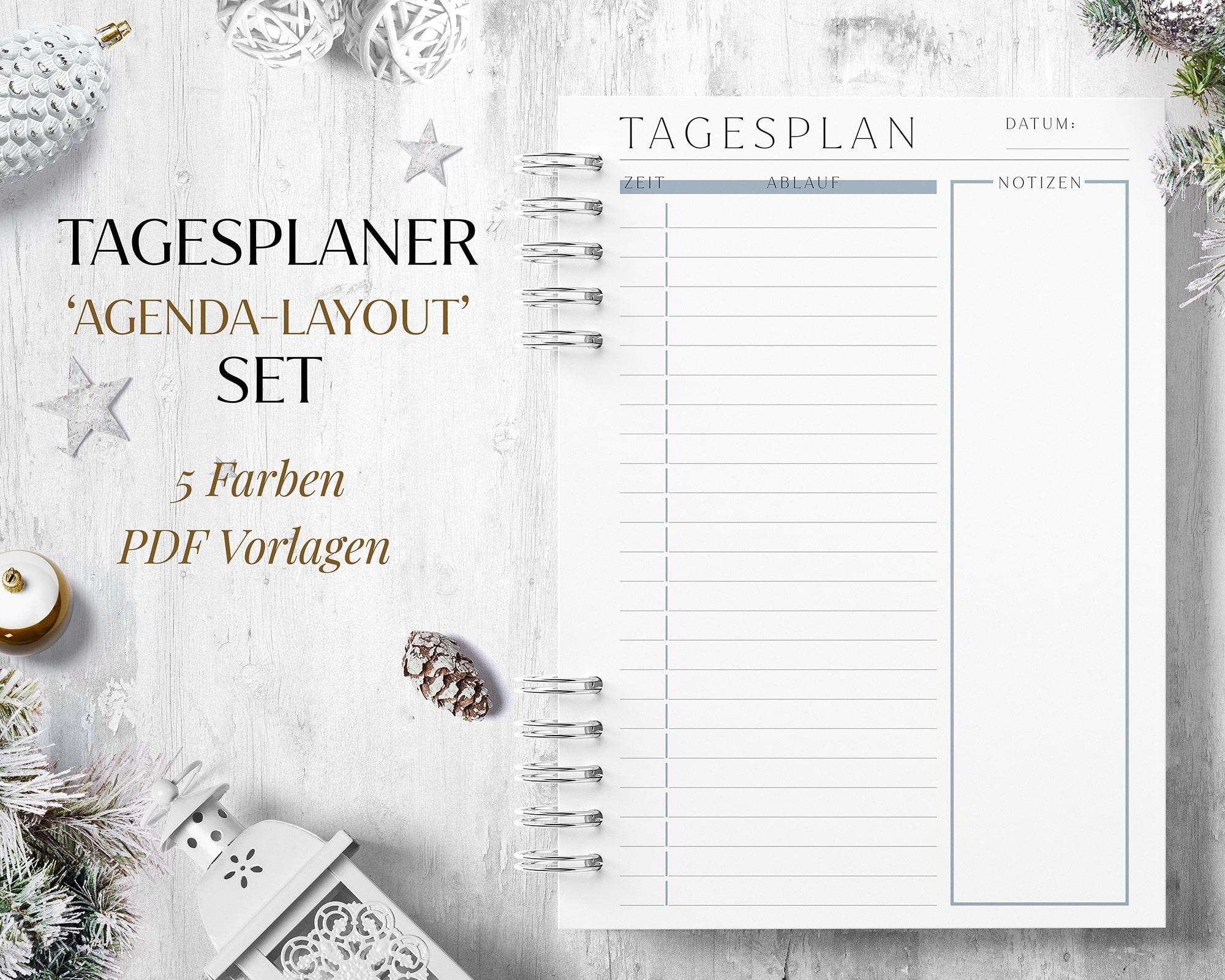 Tagesplaner Agenda Style Zeitplan