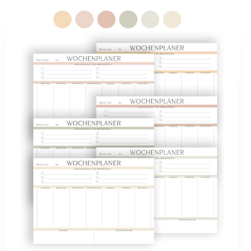 Wochenplan Vorlage zum Ausdrucken modern minimalistisch farbig (4)