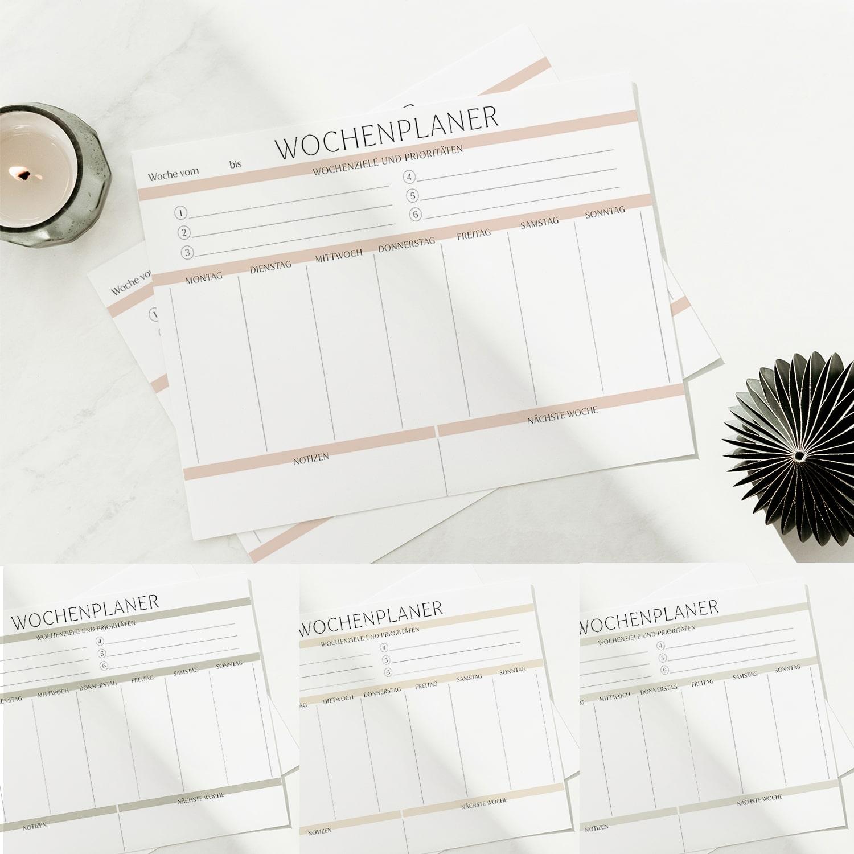 Wochenplan Vorlage zum Ausdrucken modern minimalistisch farbig schön