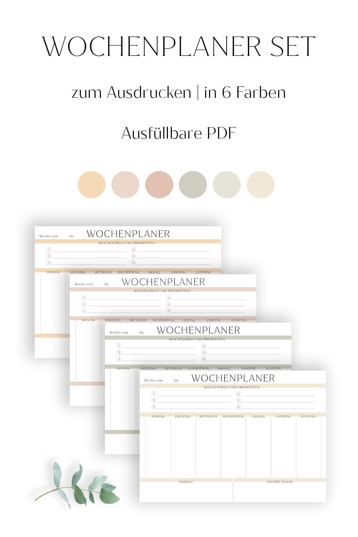 Wochenplan zum Ausdrucken modern minimalistisch farbig vorlage bullet journal