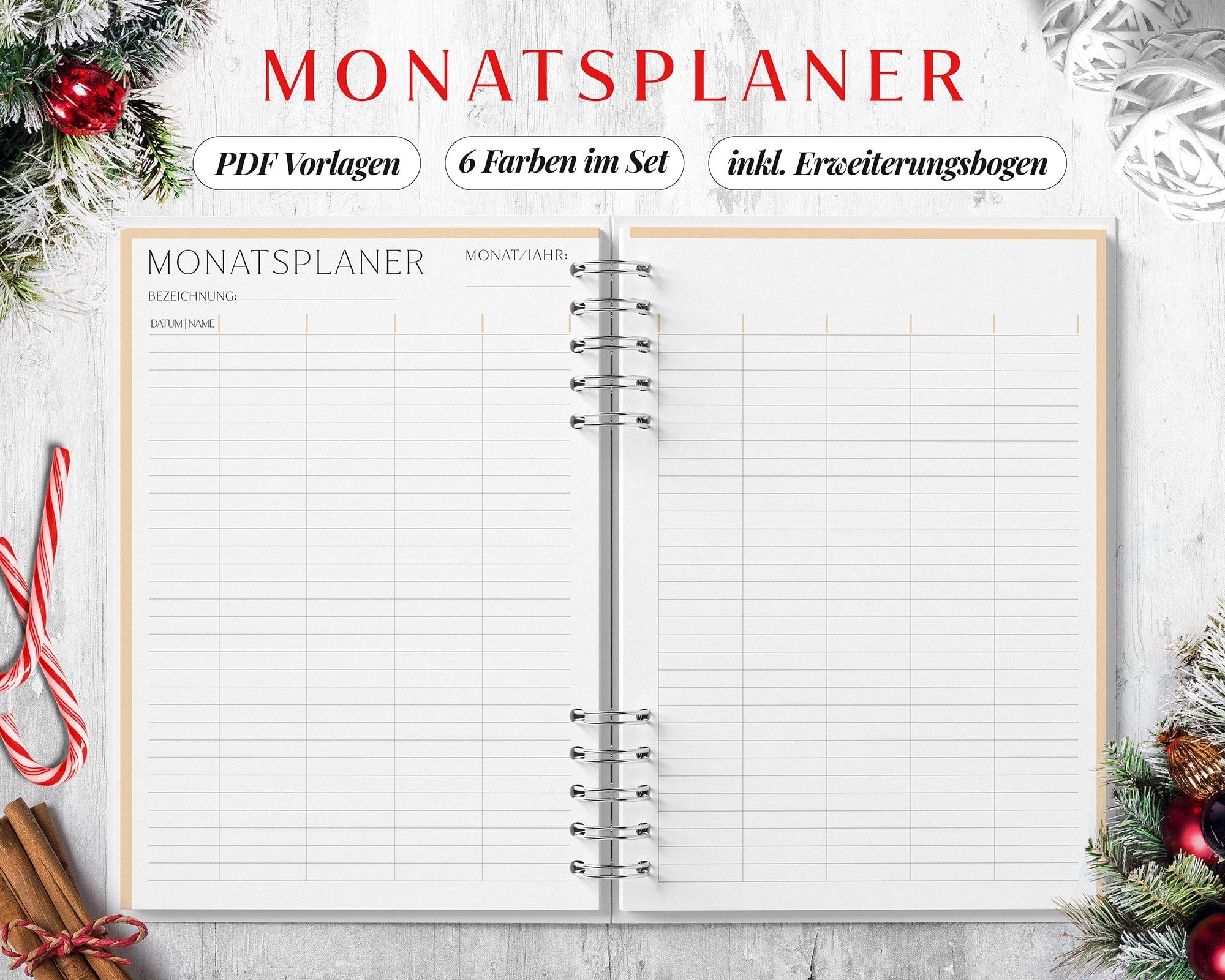 Monatsplaner digital doppelseitig pdf