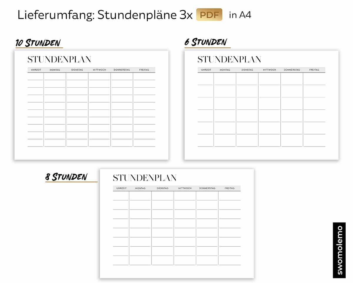 Stundenplan-Druckvorlage-Ausdrucken-10-8-6-Stunden-Download-Schwarz-Weiß-A4