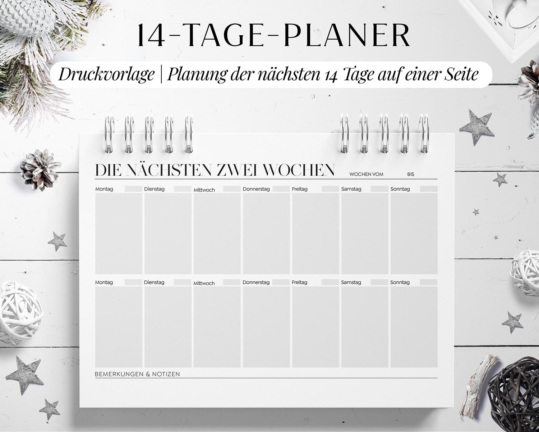 Wochenplaner 14 Tage Planung Vorlage zum Ausdrucken PDF