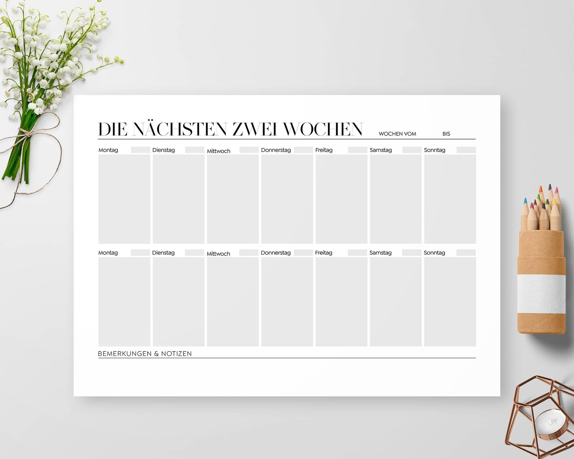 Zwei Wochen Planer zum Ausdrucken PDF
