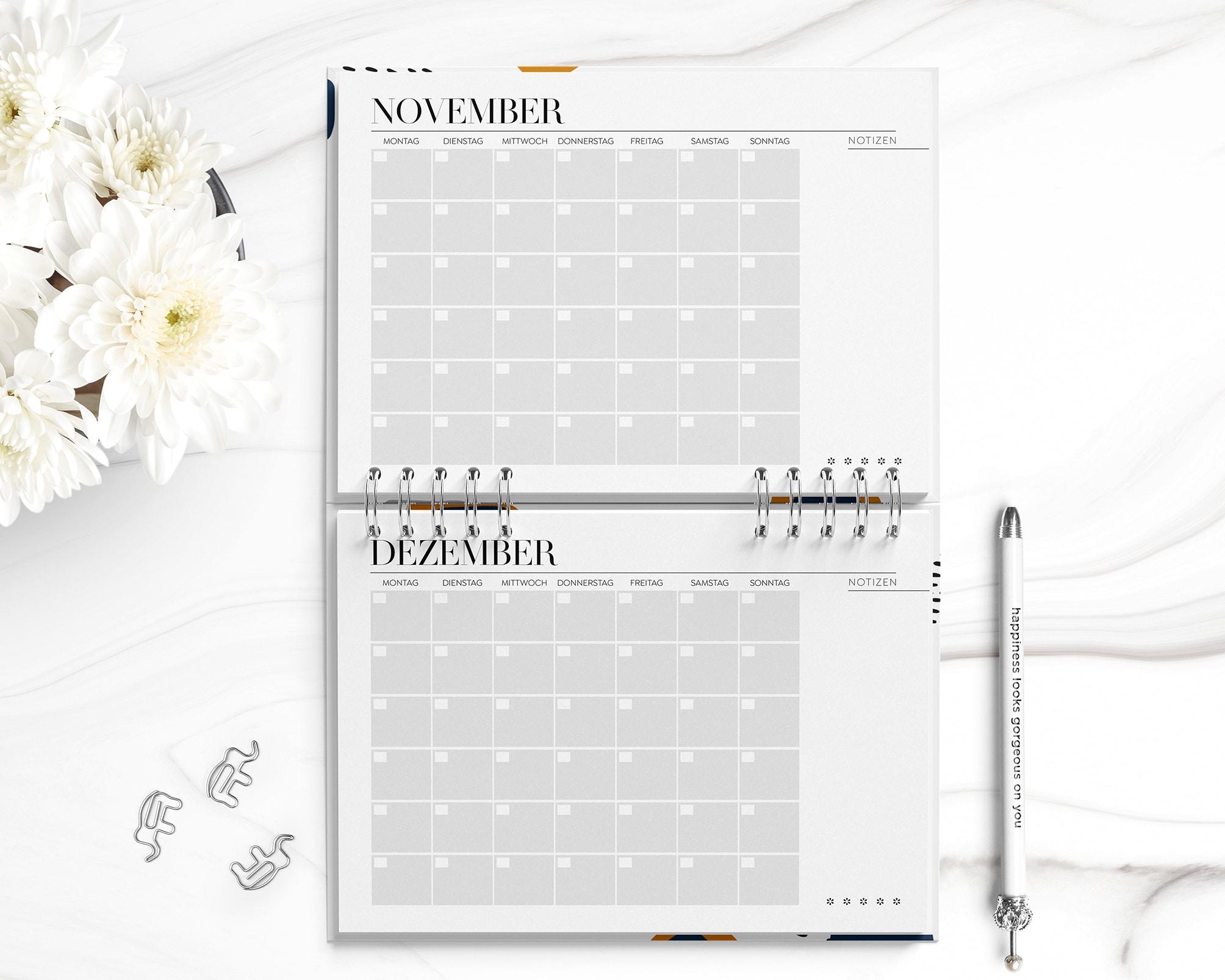 Monatskalender zum Ausdrucken PDF | 12 Monatspläne Januar bis Dezember