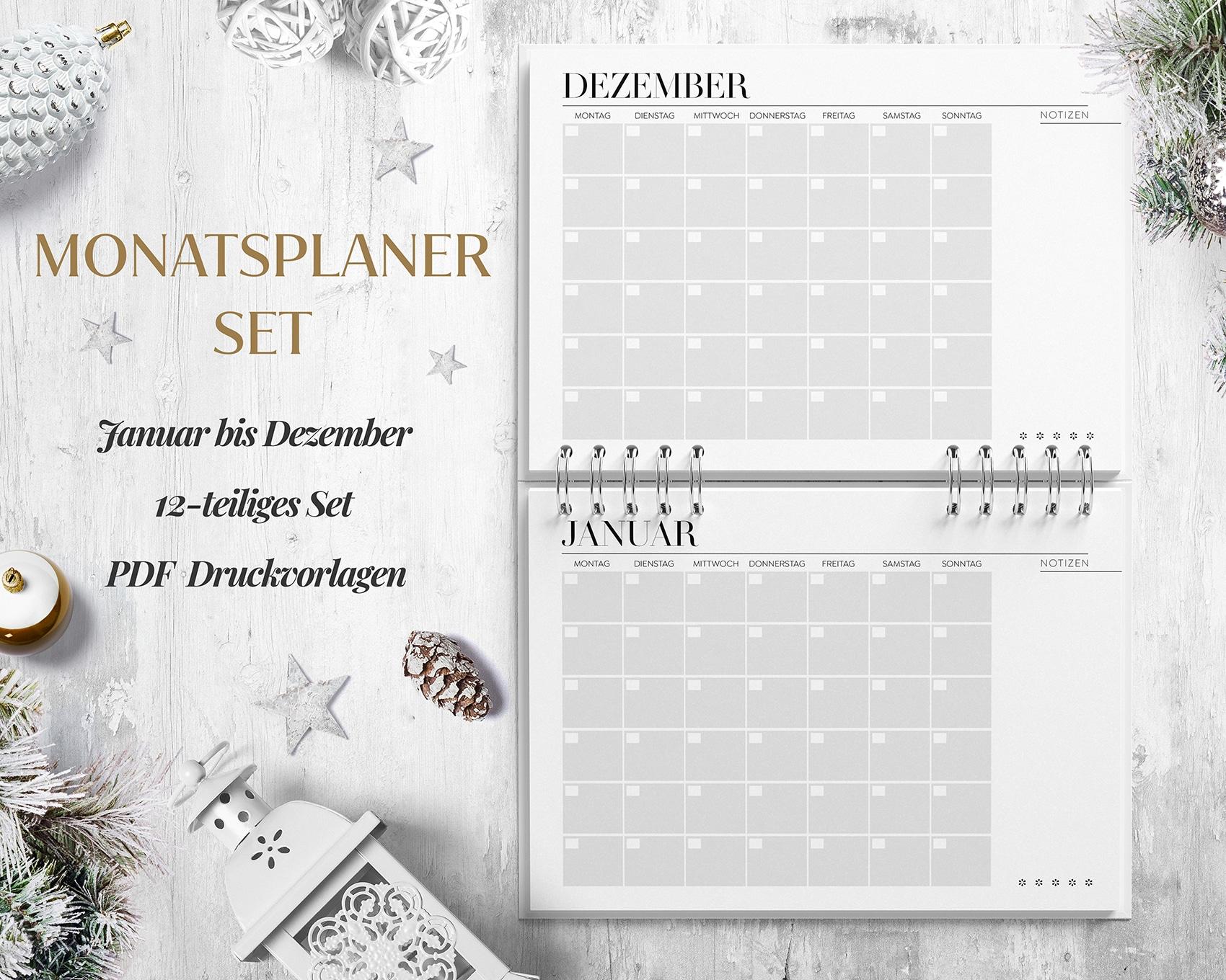 Monatsplaner PDF Monatskalender Januar Dezember