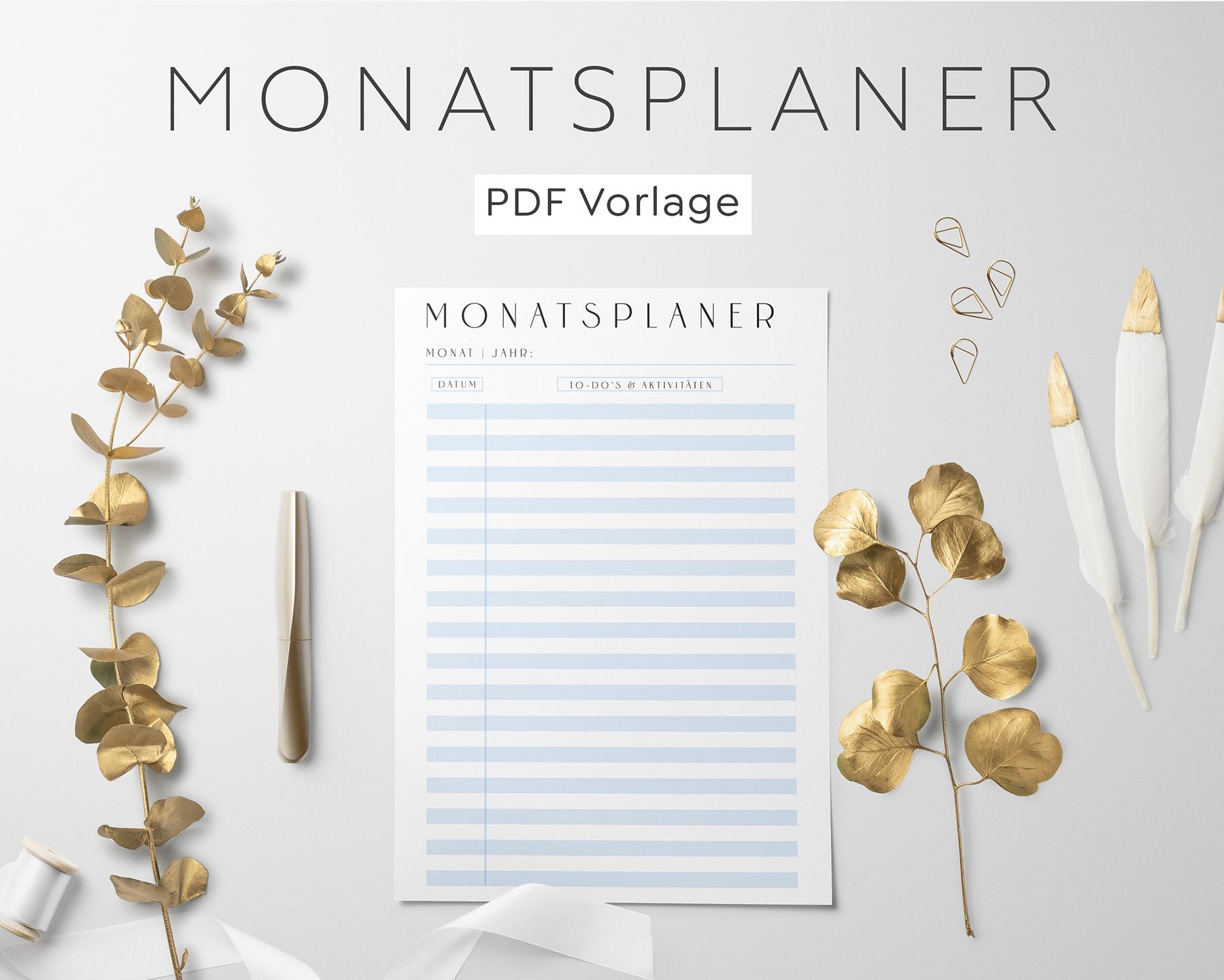 Monatsplanung PDF Blau