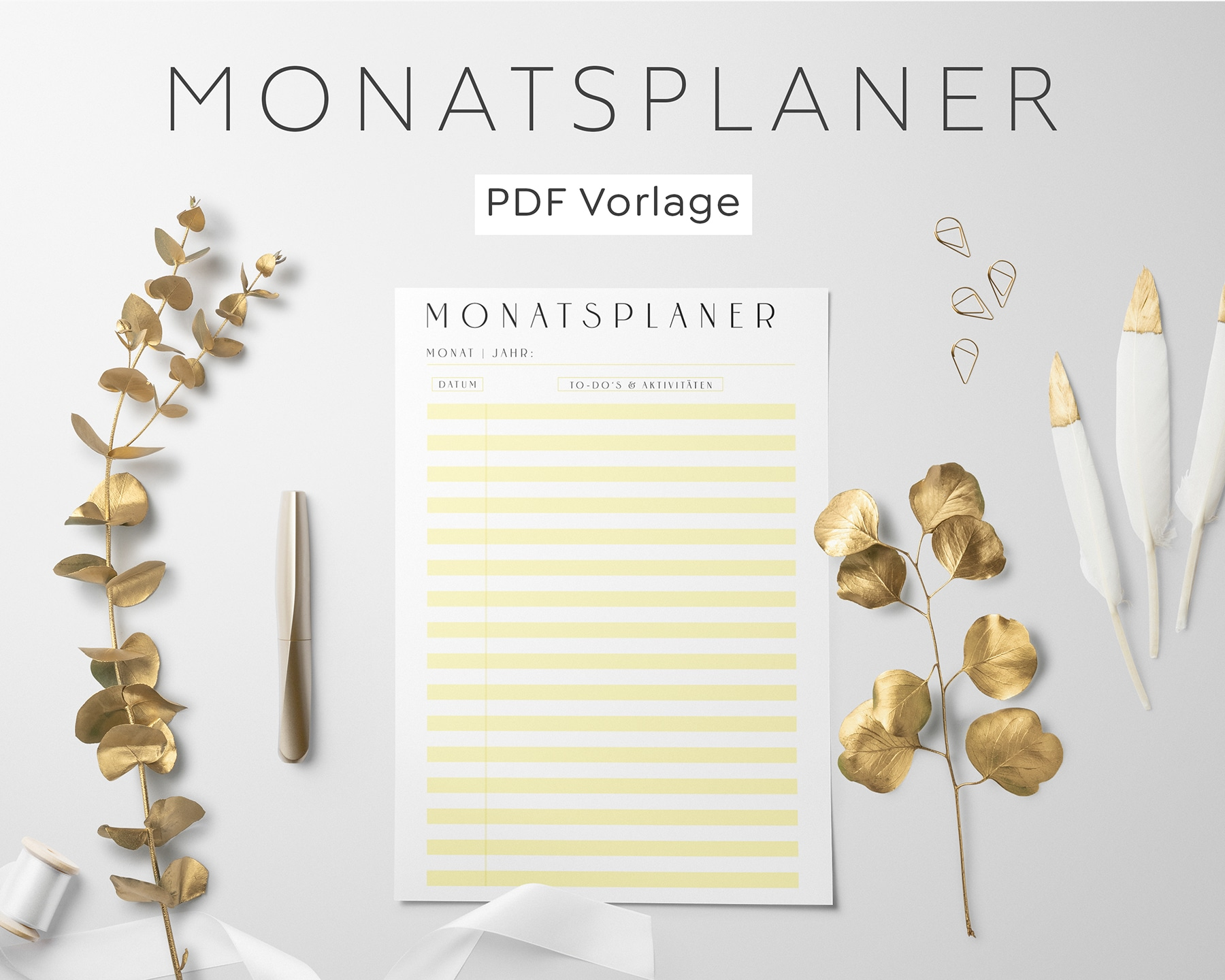 Monatsplanung PDF Gelb