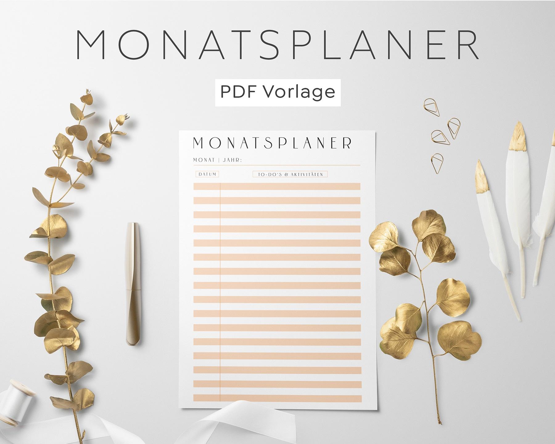 Monatsplanung PDF Orange
