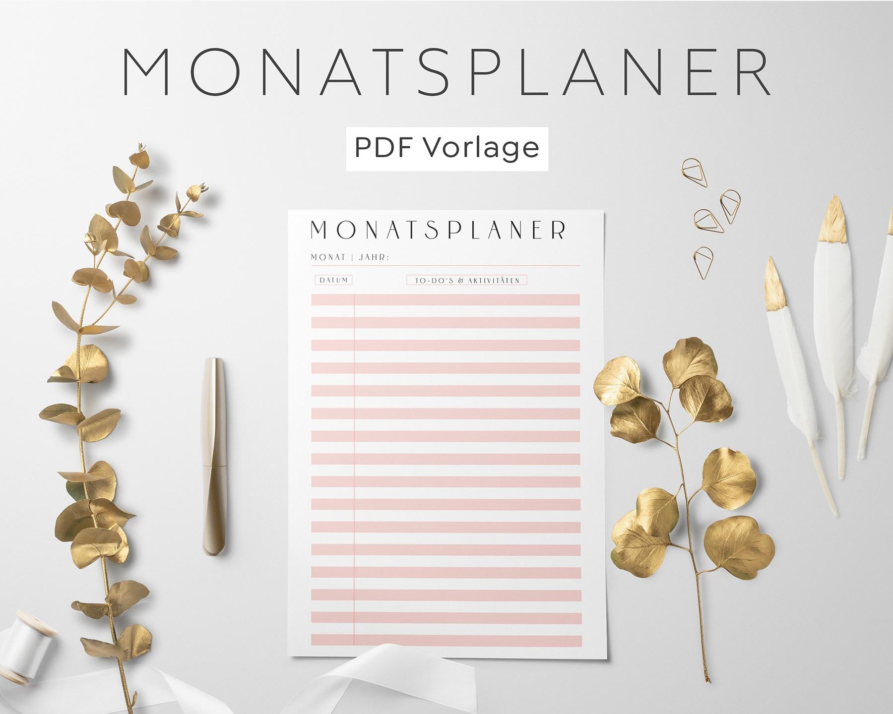 Monatsplanung PDF Rosa