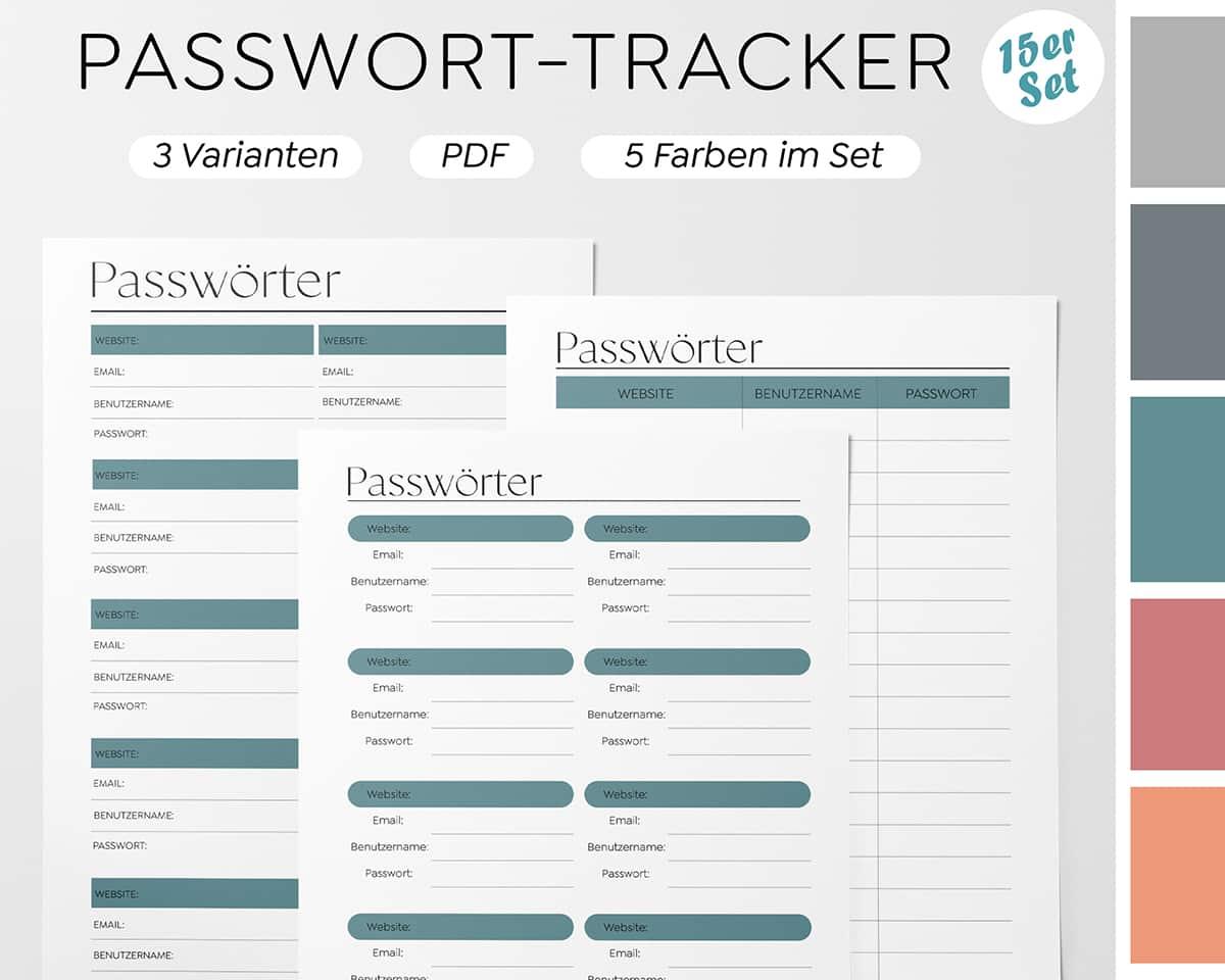 Passwort-Liste Vorlage zum Ausdrucken - Kollektion 15-tlg. Set (K3) 1