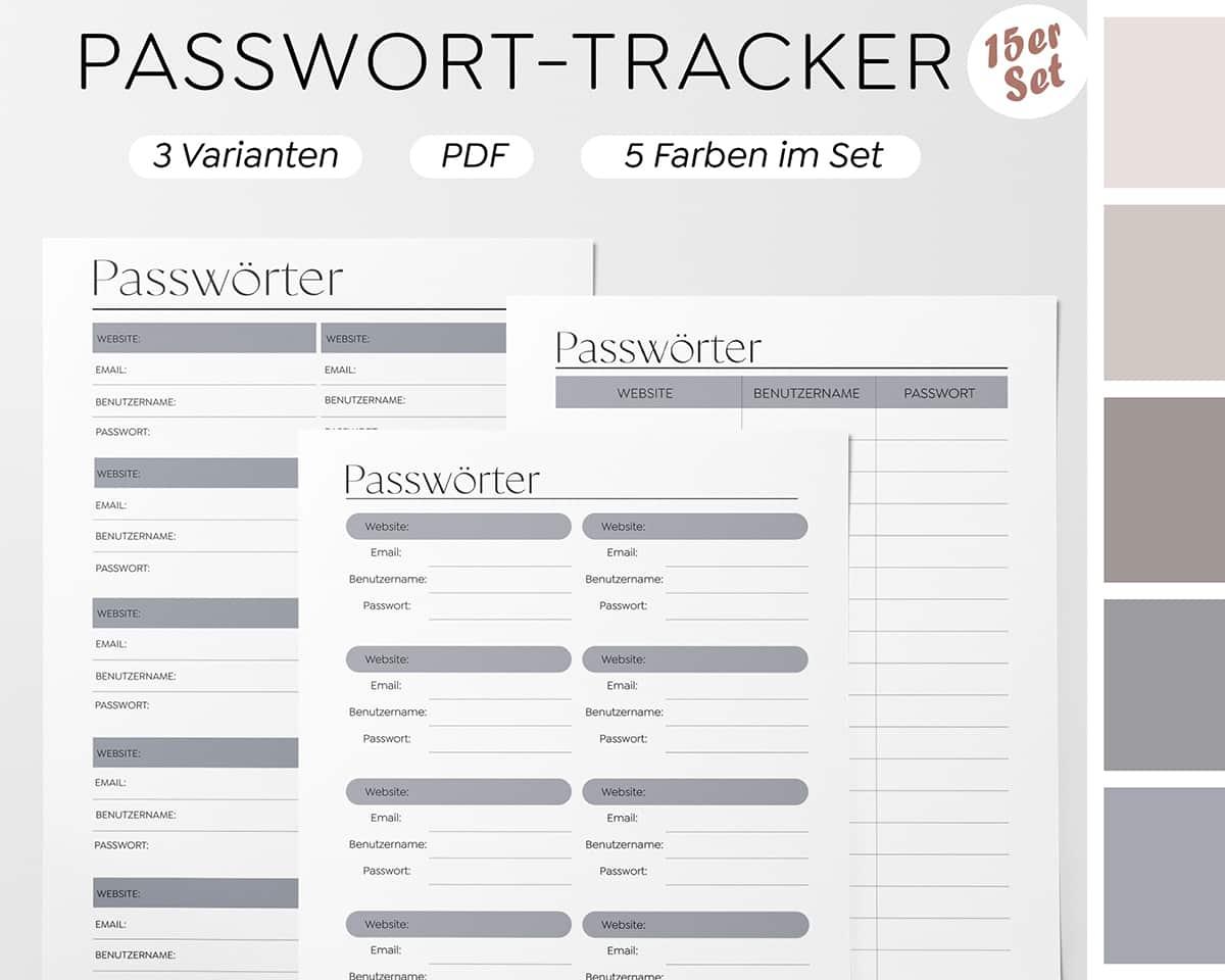 Printable-Kenwort-Liste-Passwörter-Log-Ablage-Verwalten