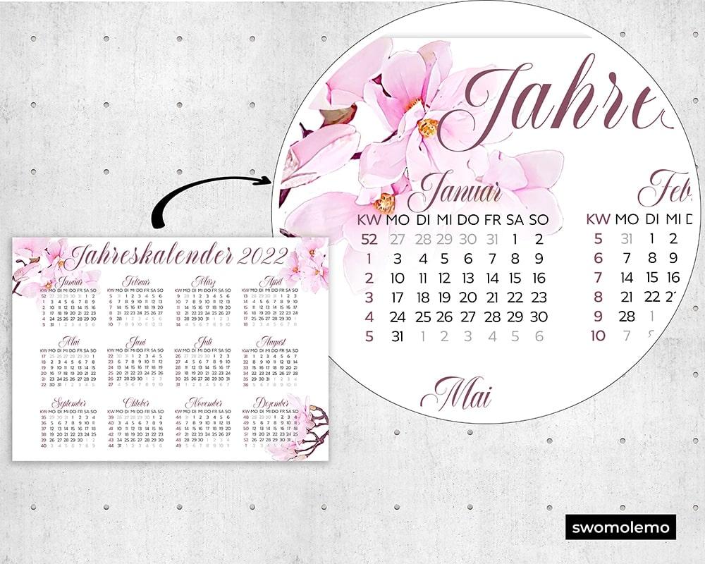 Kalender-2022-Blumen-Rosa-Pink-Qualität-Wandkalender